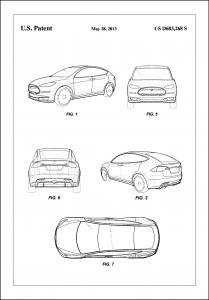 Patent Print - Tesla - White Poster