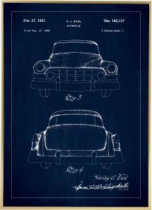 Patentzeichnung - Cadillac II - Blau Poster