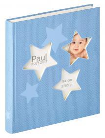 Estrella Babyalbum Blau - 28x30,5 cm (50 weiße Seiten / 25 Blatt)