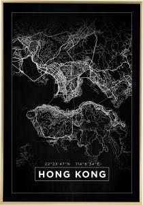 Map - Hong Kong - Black Poster