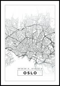 Map - Oslo - White Poster