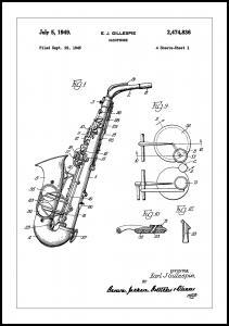 Patent Print - Saxophone - White Poster