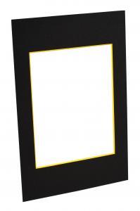 Passepartout Schwarz (gelber Kern) - Maßgefertigt